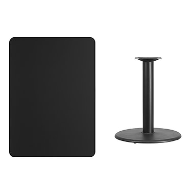 Flash Furniture 30'' x 42'' Rectangular Laminate Table Top, Black with 24'' Round Table-Height Base (XUBK3042TR24)