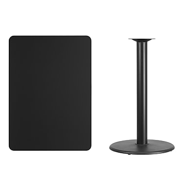 Flash Furniture 30'' x 42'' Rectangular Laminate Table Top, Black with 24'' Round Bar-Height Table Base (XUBK3042TR24B)