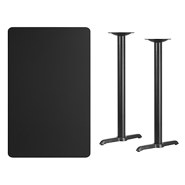 Flash Furniture 30'' x 48'' Rectangular Laminate Table Top, Black with 5'' x 22'' Bar-Height Table Bases (XUBK3048T0522B)