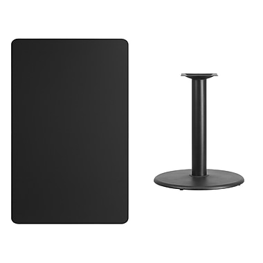 Flash Furniture 30'' x 48'' Rectangular Laminate Table Top, Black with 24'' Round Table-Height Base (XUBK3048TR24)