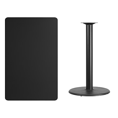Flash Furniture 30'' x 48'' Rectangular Laminate Table Top, Black with 24'' Round Bar-Height Table Base (XUBK3048TR24B)
