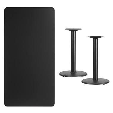 Flash Furniture 30'' x 60'' Rectangular Laminate Table Top, Black with 18'' Round Table-Height Bases (XUBK3060TR18)
