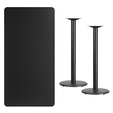 Flash Furniture 30'' x 60'' Rectangular Laminate Table Top, Black with 18'' Round Bar Height Table Bases (XUBK3060TR18B)