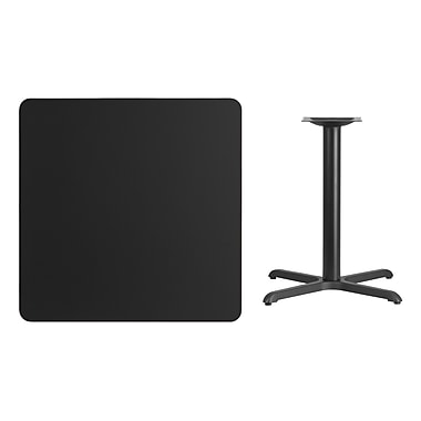 Flash Furniture 36'' Square Laminate Table Top, Black with 30'' x 30'' Table-Height Base (XUBK3636T3030)