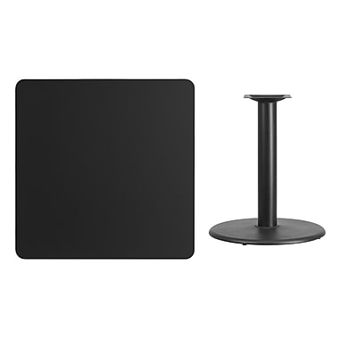 Flash Furniture 36'' Square Laminate Table Top, Black with 24'' Round Table-Height Base (XUBK3636TR24)