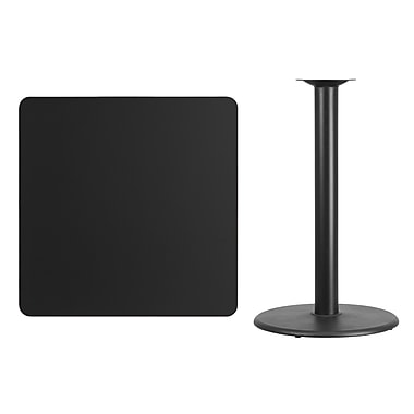 Flash Furniture 36'' Square Laminate Table Top, Black with 24'' Round Bar-Height Table Base (XUBK3636TR24B)