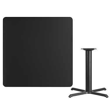 Flash Furniture 42'' Square Laminate Table Top, Black with 33'' x 33'' Table-Height Base (XUBK4242T3333)