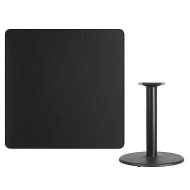 Flash Furniture 42'' Square Black Laminate Table Top with 24'' Round Table Height Base (XUBK4242TR24)