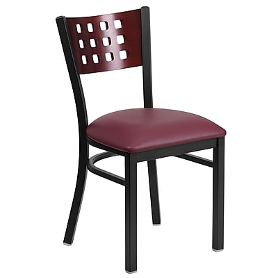 Flash Furniture Hercules Black Cutout-Back Metal Restaurant Chair, Mahogany Wood Back, Burgundy Vinyl Seat (XUDG117MAHBGV)