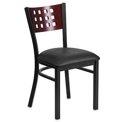 Flash Furniture Hercules Decorative Cutout-Back Metal Restaurant Chair, Mahogany Wood Back, Black Vinyl Seat (XUDG117MAHBKV)