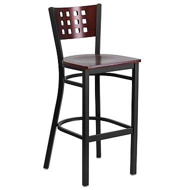 Flash Furniture Hercules Black Metal Restaurant Barstool, Decorative Cutout Back, Mahogany Wood Back/Seat (XUDG118MAHB)