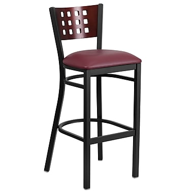 Flash Furniture Hercules Cutout-Back Black Metal Restaurant Barstool, Mahogany Wood Back, Burgundy Vinyl Seat (XUDG118MAHBBGV)