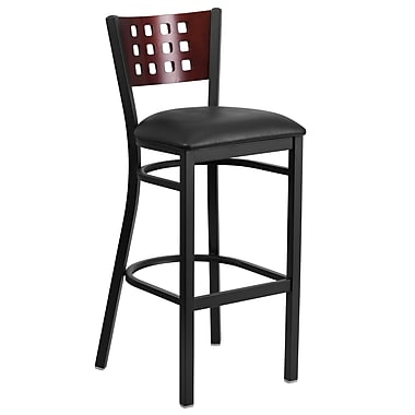 Flash Furniture Hercules Series Black Cutout-Back Metal Restaurant Barstool, Mahogany Back, Black Vinyl Seat (XUDG118MAHBBKV)