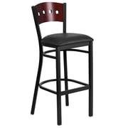 Flash Furniture  Hercules Decorative 4-Square-Back Metal Restaurant Barstool, Mahogany Back, Black Vinyl Seat (XUDG515MAHBBKV)