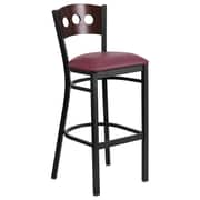 Flash Furniture  Hercules Black 3-Circle-Back Metal Restaurant Barstool, Walnut Back, Burgundy Vinyl Seat (XUDG516WABBGV)