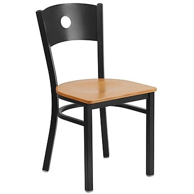 Flash Furniture – Chaise de restaurant en métal à dossier ajouré, noir, siège en bois naturel (XUDG6019CIRNATW)