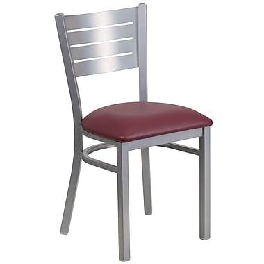 Chaise de restaurant HERCULES en acier à traverses horizontales, argenté, siège en vinyle bourgogne (XUDG60401BGV)