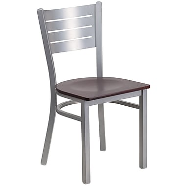 Flash Furniture Hercules Series Silver Slat Back Metal Restaurant Chair, Mahogany Wood Seat, (XUDG60401MAHW)