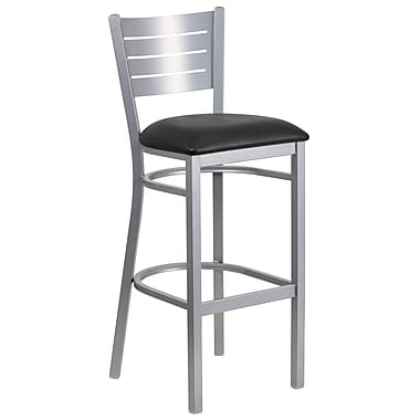 Flash Furniture Hercules Slat-Back Metal Restaurant Barstool, Silver with Black Vinyl Seat (XUDG60402BBKV)