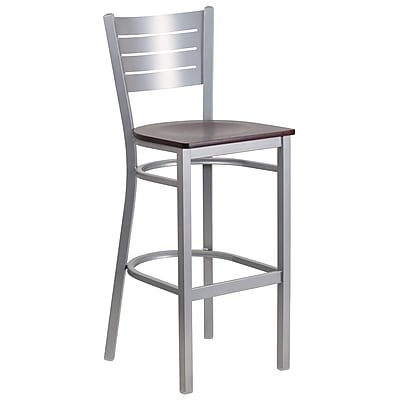 Flash Furniture Hercules Series Slat-Back Metal Restaurant Barstool, Silver with Mahogany Wood Seat (XUDG60402BMAW)
