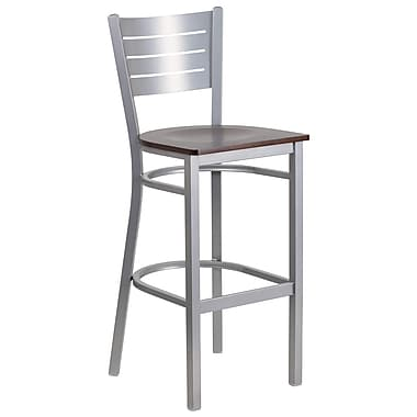 Flash Furniture Hercules Series Slat-Back Metal Restaurant Barstool, Silver with Walnut Wood Seat (XUDG60402BWAW)