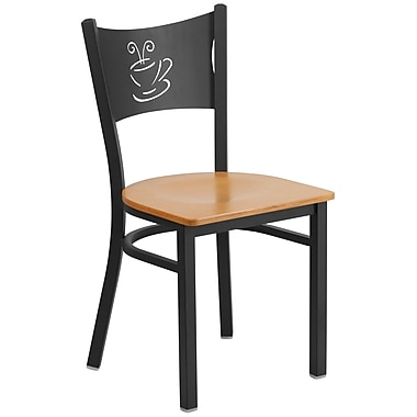 Flash Furniture Hercules Series Coffee-Back Metal Restaurant Chair - Black with Natural Wood Seat (XUDG6099COFNATW)