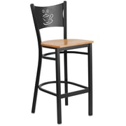 Flash Furniture  Hercules Series Coffee-Back Metal Restaurant Barstool, Black with Natural Wood Seat (XUDG614COFBNATW)