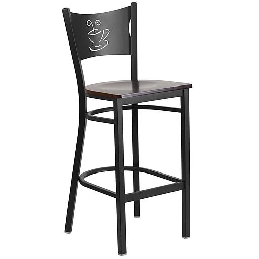 Flash Furniture  Hercules Series 29'' Black Coffee Back Metal Restaurant Barstool, Walnut Wood Seat (XUDG614COFBWALW)
