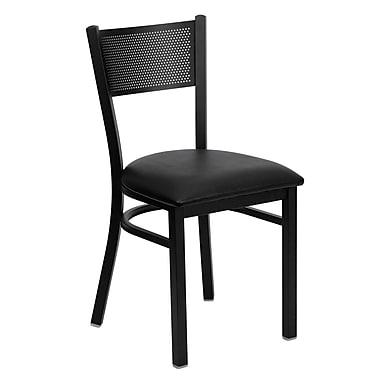 Flash Furniture Hercules Series Grid-Back Metal Restaurant Chair, Black with Black Vinyl Seat (XUDG615GRDBLKV)