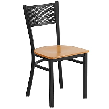 Flash Furniture Hercules Series Grid-Back Metal Restaurant Chair, Black with Natural Wood Seat (XUDG615GRDNATW)