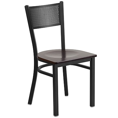 Flash Furniture Hercules Series Black Grid Back Metal Restaurant Chair (XUDG615GRDWALW)