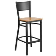 Flash Furniture  Hercules Grid-Back Metal Restaurant Barstool, Black with Natural Wood Seat (XUDG616GRDBNATW)