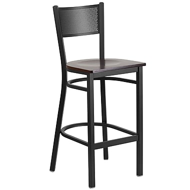 Flash Furniture Hercules Series Grid-Back Metal Restaurant Barstool, Black with Walnut Wood Seat (XUDG616GRDBWALW)