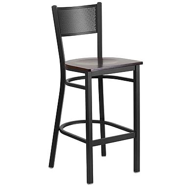 Flash Furniture – Tabouret bistro HERCULES en métal à dossier ajouré, noir, siège en noyer (XUDG616GRDBWALW)