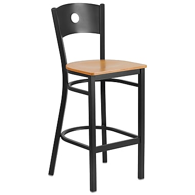 Flash Furniture Hercules Circle-Back Metal Restaurant Barstool, Black, with Natural Wood Seat (XUDG620CIRBNATW)
