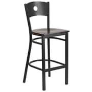 Flash Furniture  Hercules Series Metal Circle Back Restaurant Barstool, Black with Walnut Wood Seat (XUDG620CIRBWALW)