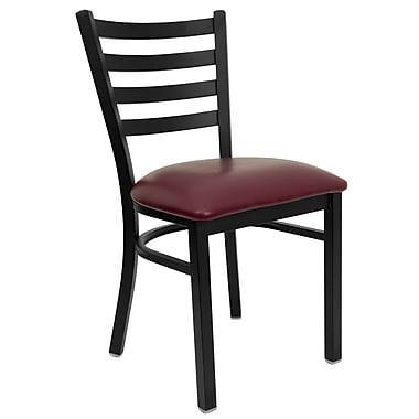 Chaise de restaurant HERCULES en acier à traverses horizontales, noir, siège en vinyle bourgogne (XUDG694BLADBURV)