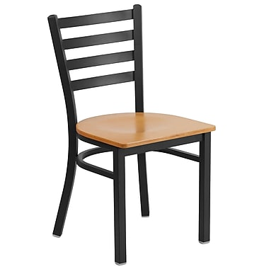Flash Furniture Hercules Series Metal Ladder Back Restaurant Chair, Natural Wood Seat and Black Back, XUDG694BLADNATW