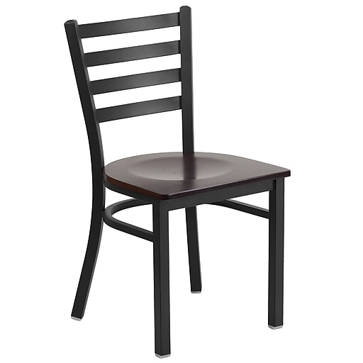 Flash Furniture  Hercules Series Ladderback Metal Restaurant Chair, Black with Walnut Wood Seat (XUDG694BLADWALW)