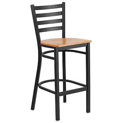 Flash Furniture  Hercules Series Metal Ladder Back Restaurant Barstool, Black with Natural Wood Seat (XUDG697BBARNTW)