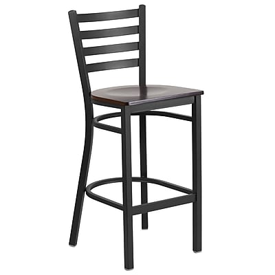 Flash Furniture Hercules Series Ladder Back Metal Restaurant Barstool with Walnut Wood Seat, Black (XUDG697BBARWAW)