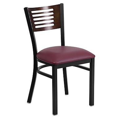 Flash Furniture Hercules Black Decorative Slat Back Metal Restaurant Chair, Walnut Back, Vinyl Seat, (XUDG6G5WALGV)