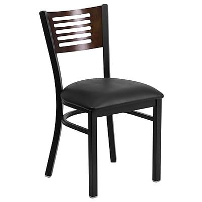 Flash Furniture Hercules Slat-Back Metal Restaurant Chair, Walnut Wood Back, Black with Black Vinyl Seat (XUDG6G5WALKV)