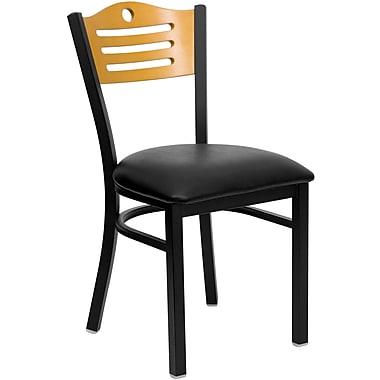 Chaise de restaurant en acier, dossier ajouré bois naturel, siège en vinyle noir, structure noire (XUDG6G7BSLTBLKV)