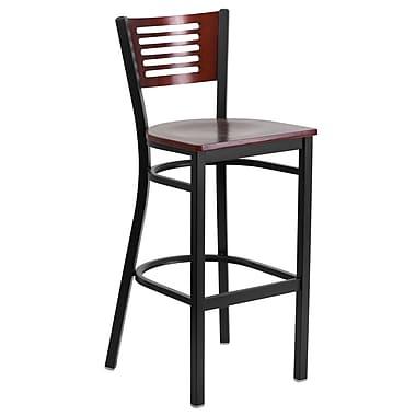 Flash Furniture Hercules Decorative Slat-Back Metal Restaurant Barstool, Black with Mahogany Wood Back and Seat (XUDG6H1BMAH)