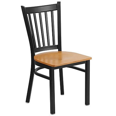 Flash Furniture Hercules Vertical-Back Metal Restaurant Chair, Black with Natural Wood Seat (XUDG6Q2BVRTNATW)