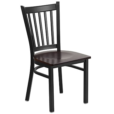 Flash Furniture Hercules Series Black Grid Back Metal Restaurant Chair, Walnut Wood Seat, (XUDG615GRDWALW)