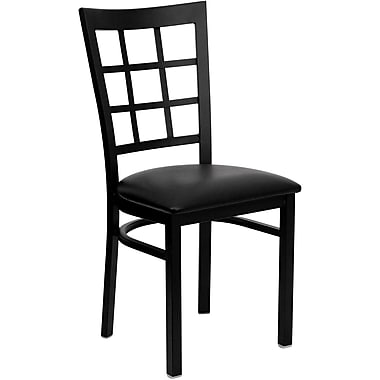 Flash Furniture Hercules Series Window-Back Metal Restaurant Chair, Black with Black Vinyl Seat (XUDG6Q3BWINBLKV)