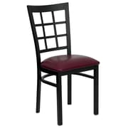 Flash Furniture  Hercules Series Window-Back Metal Restaurant Chair, Black with Burgundy Vinyl Seat (XUDG6Q3BWINBURV)