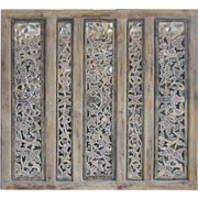 Asian Loft 44'' x 44'' Balinese Carved 5 Panel Room Divider